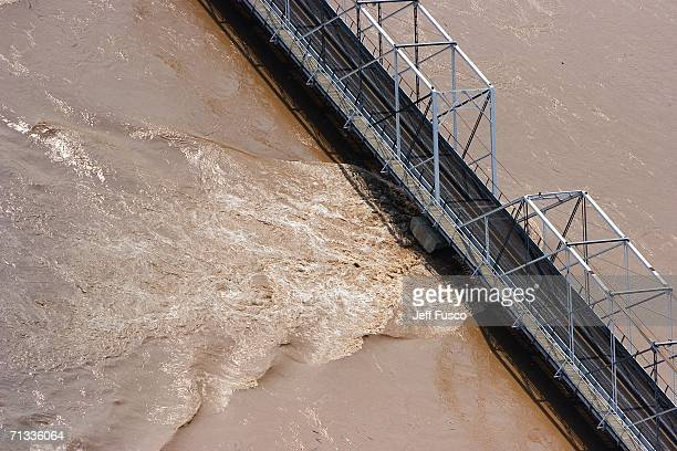 A bridge connecting New Hope Pennsyvania to Lambertville New Jersey is closed due to rising waters of the Delaware River June 29 2006 south of...