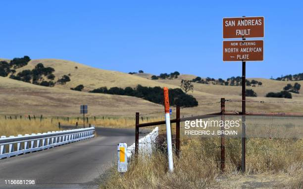 Bridge crosses over the San Andreas Fault from the Pacific to the North American tectonic plates near Parkfield, California on July 12, 2019 in a...