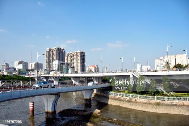 Bridge crossing Saigon River Ho Chi Minh City Vietnam