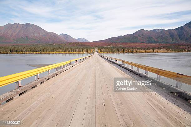 bridge crossing susitna river - mt. susitna stock pictures, royalty-free photos & images