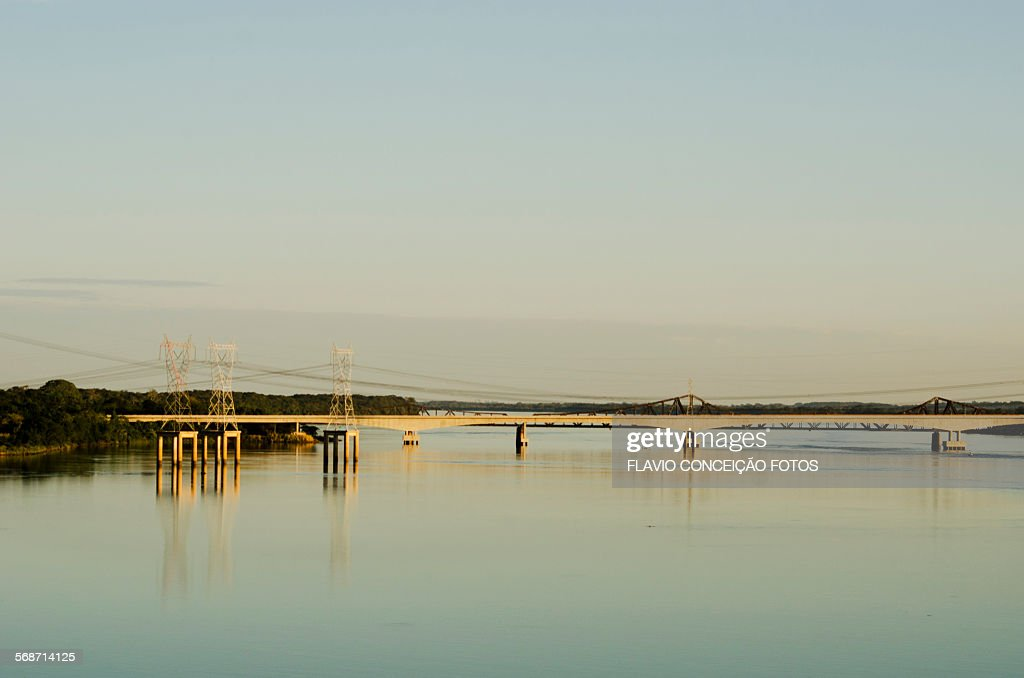 bridge crossing the highway : Stock Photo