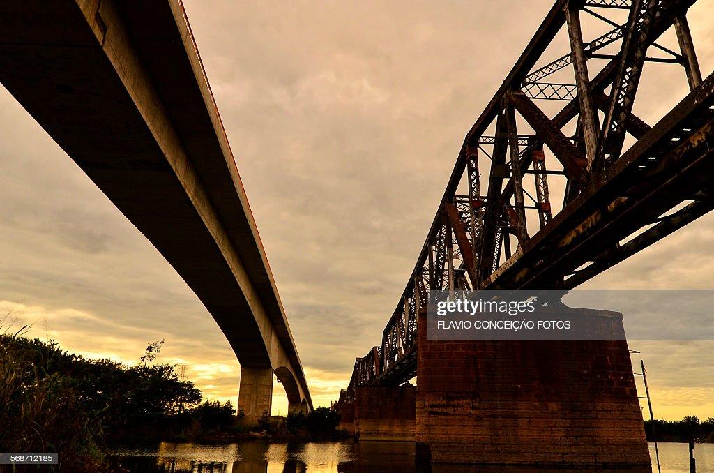 Bridge crossing the rail line for railway : Stock Photo