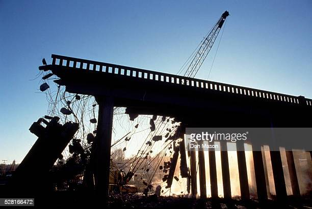 bridge demolition - collapsing stock pictures, royalty-free photos & images