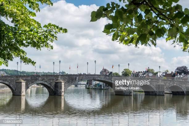 bridge des ardennes across the meuse river in city of namur - ナミュール州 ストックフォトと画像