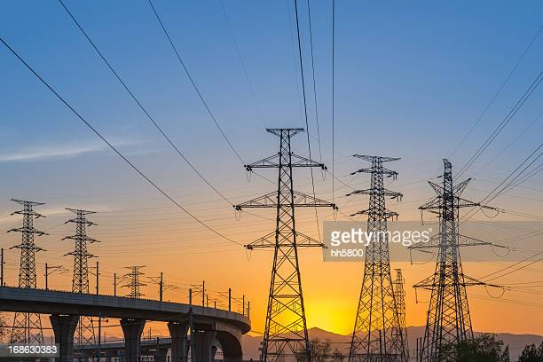 bridge electricity pylon - tower stock pictures, royalty-free photos & images
