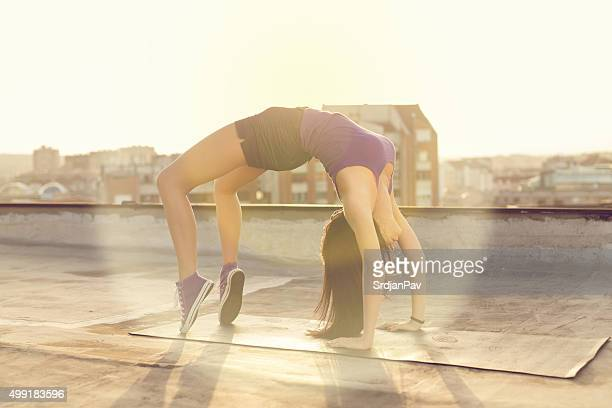 bridge exercise - perfect female body shape stock photos and pictures