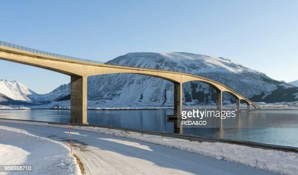 Bridge from Gimsoya to Austvagoya over Gimsoystraumen The Lofoten islands in northern Norway during winter Europe Scandinavia Norway February