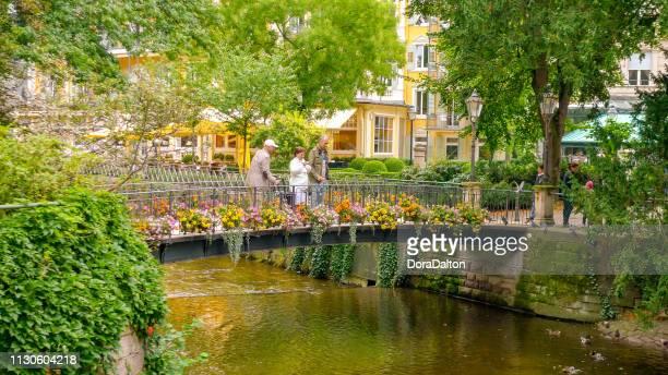 brücke in wunderschöne parkanlage mitten im herzen von baden-baden, deutschland - baden baden stock-fotos und bilder