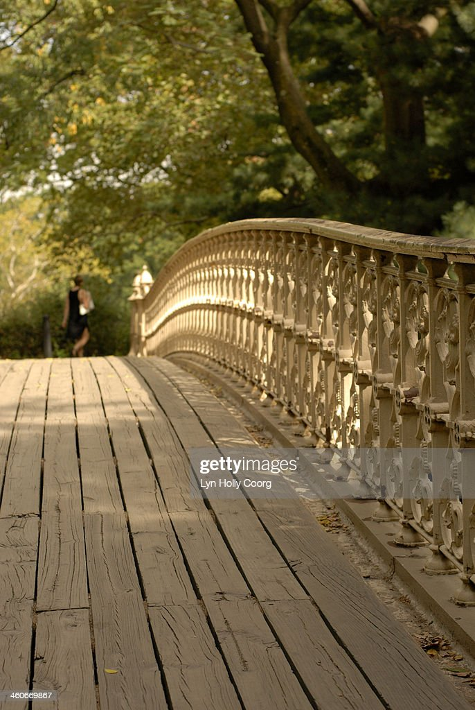 Bridge in Central Park with woman in foreground : Stock Photo