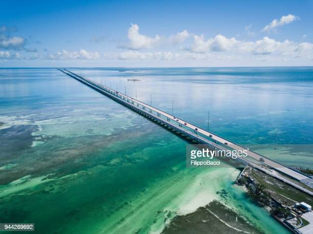 Bridge in Florida Keys from drone point of view