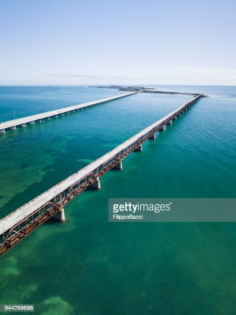 bridge in florida keys from drone point of view - newport rhode island stock pictures, royalty-free photos & images