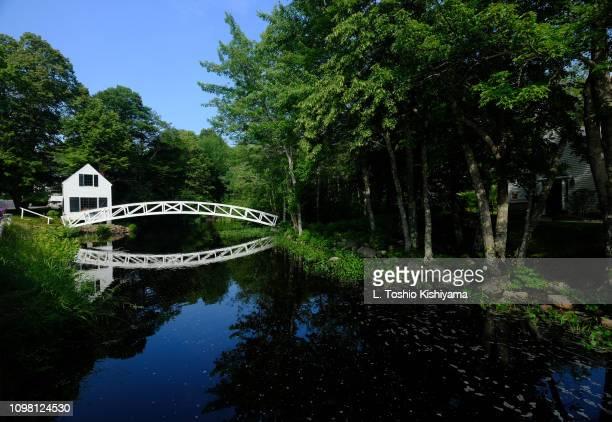 bridge in maine. - bar harbor stock photos and pictures