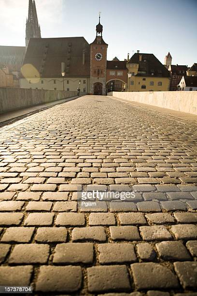 bridge in regensburg, germany - regensburg stock photos and pictures