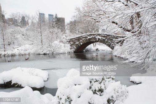 Bridge in snowy urban park