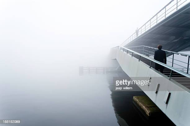 bridge in the fog - overexposed stock pictures, royalty-free photos & images