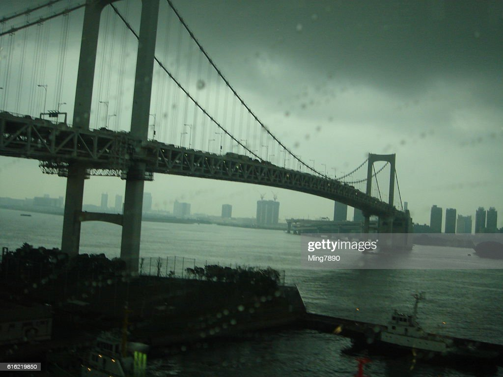 Bridge in the rain : Stock Photo