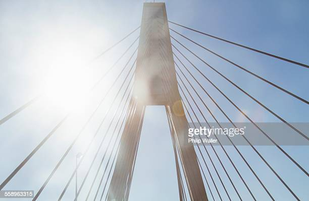 bridge, low angle view - suspension bridge stock photos and pictures