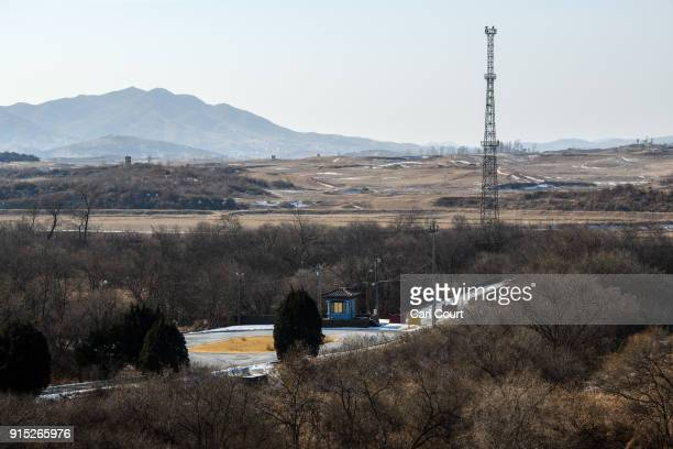 A bridge nicknamed 'the bridge of no return' is pictured in the Demilitarized Zone between South and North Korea on February 7 2018 in Panmunjom...
