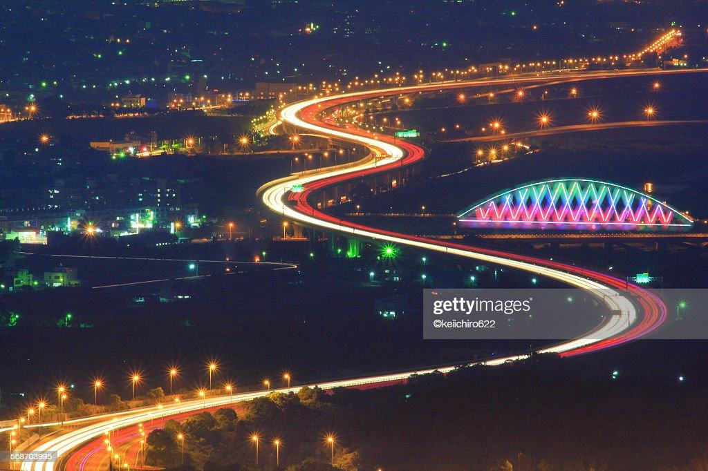 Bridge night dream : Stock Photo