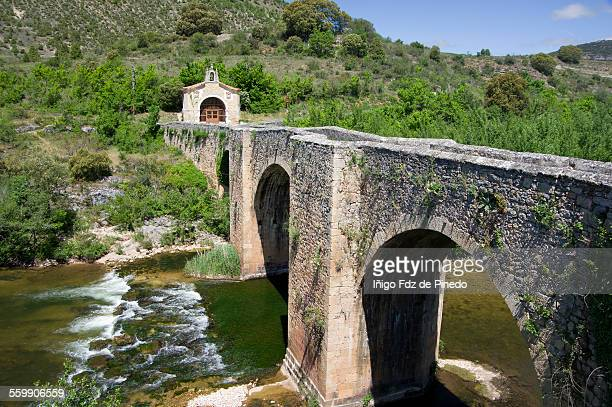 bridge of pesquera de ebro, burgos, spain - ebro river stock photos and pictures