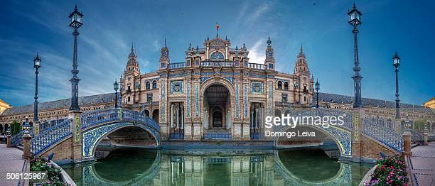 bridge of plaza espana in sevilla , spain - seville stock pictures, royalty-free photos & images