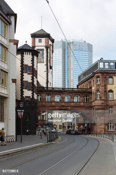 Bridge of Sights (Seufzerbrücke) in the historic center and modern skyscraper in the background in Frankfurt am Main, Hesse, Germany
