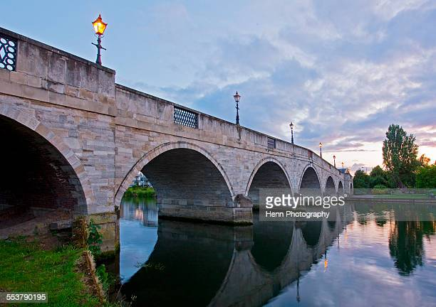 bridge of the river thames at chertsey - surrey england stock photos and pictures
