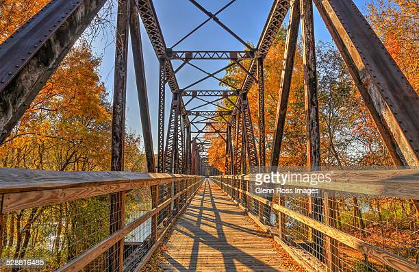bridge on broad river in autumn - columbia south carolina stock pictures, royalty-free photos & images