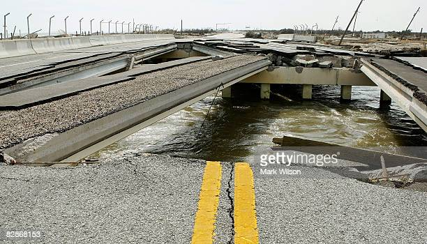 A bridge on Highway 87 suffered severe damage when Hurricane Ike came through the area September 17 2008 in Gilchrist Texas Hurricane Ike caused...