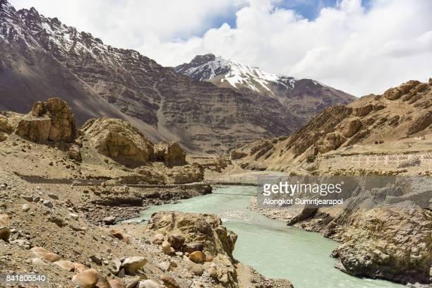 Bridge on indus river connecting leh kargil road, Ladakh, Jammu and Kashmir, India