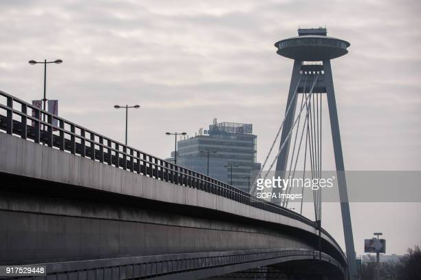 Bridge or Most SNP seen in Bratislava Bratislava is the capital city of Slovakia it has a population of just over 420000 in late 2017