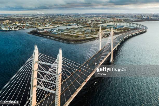 bridge ove neva river - russia stock pictures, royalty-free photos & images