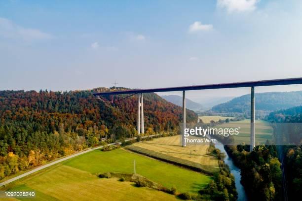 bridge over a valley with river - baden württemberg stock-fotos und bilder