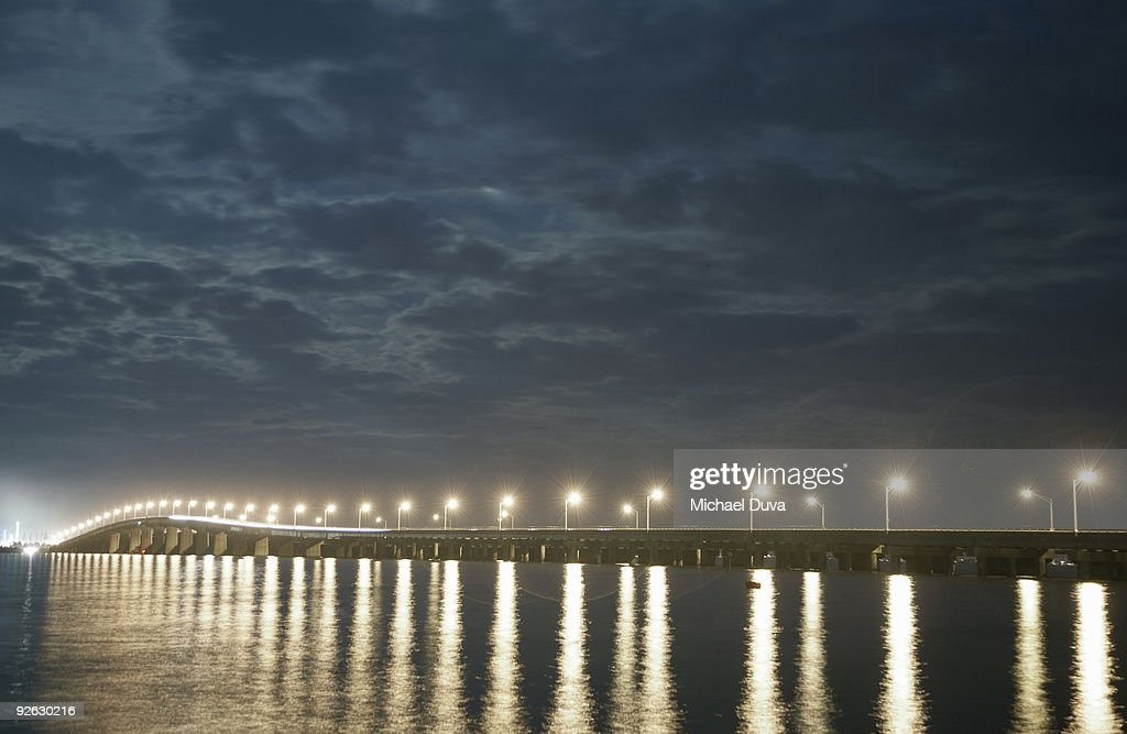 bridge over barnegat bay looking towards seasideNJ : Stock Photo