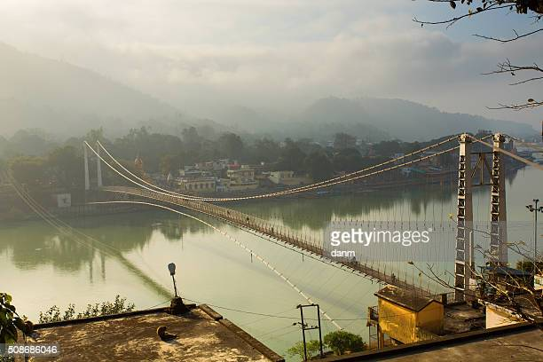 Bridge over Ganga River in Rishikesh, India