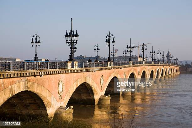 bridge over gironde river, bordeaux, france - aquitaine stock photos and pictures