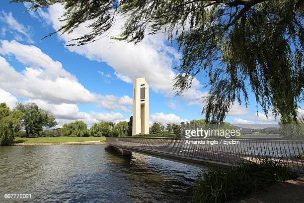 Bridge Over Lake Burley Griffin Against Tower