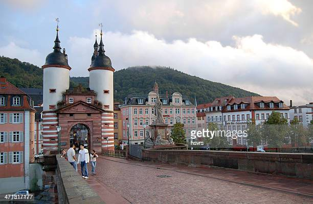 bridge over Nekar River and Brueckenhaus in Heidelberg (Germany)