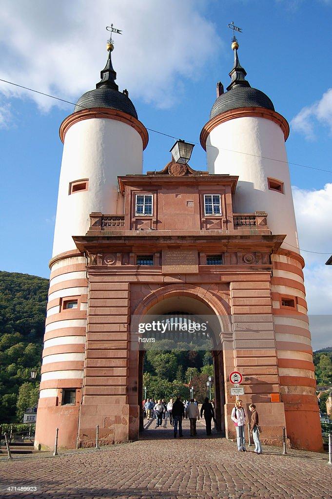 bridge over Nekar River and Brueckenhaus in Heidelberg (Germany) : Stock Photo