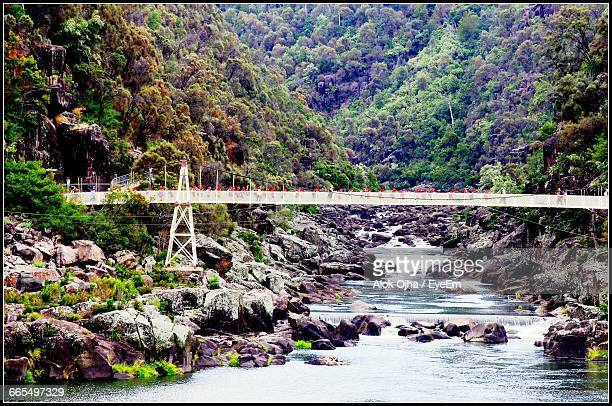 bridge over river against mountains - launceston australia stock pictures, royalty-free photos & images