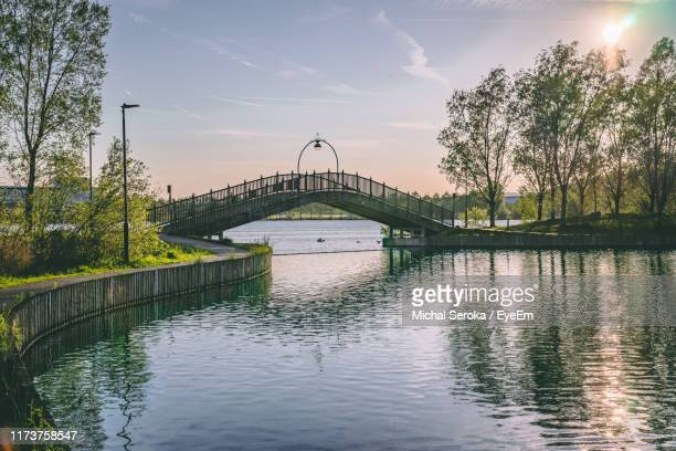 bridge over river against sky - south yorkshire stock pictures, royalty-free photos & images