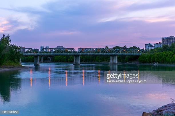 bridge over river at dusk - lopez stock pictures, royalty-free photos & images
