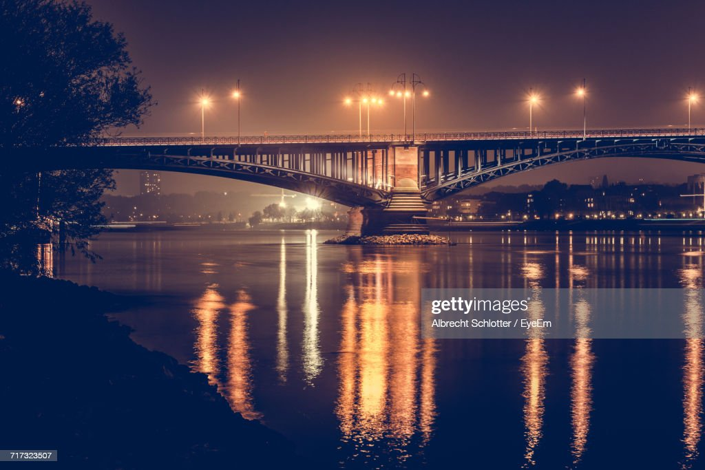 Bridge Over River At Night : Stock Photo