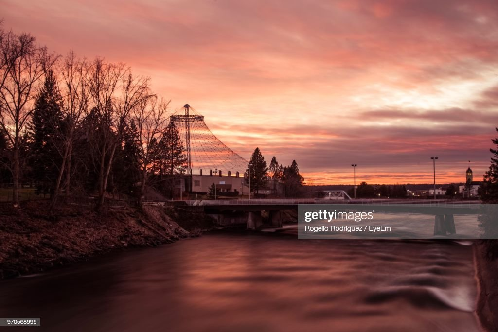 Bridge Over River At Sunset : Stock Photo