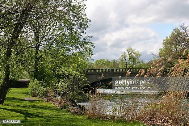 bridge over river by grassy field against cloudy sky - trenton bridge stock photos and pictures