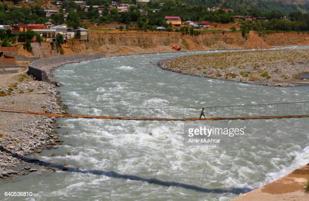 bridge over river swat - swat valley stock pictures, royalty-free photos & images