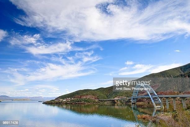 bridge over roosevelt lake, arizona - amit basu stock pictures, royalty-free photos & images