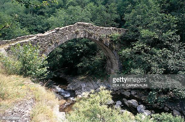 Bridge over stream Tanarello Colle San Bernardo Liguria Italy