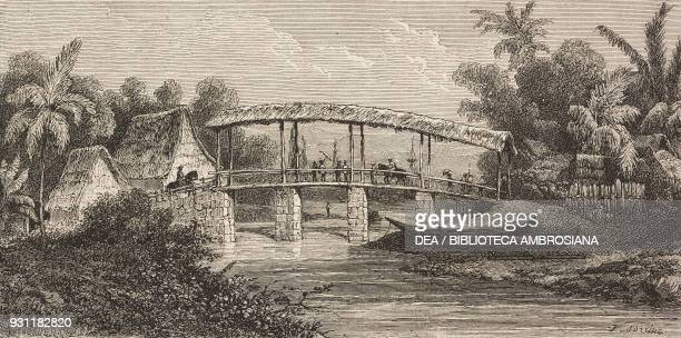 Bridge over the Batu Merah river Ambon drawing by Sorrieu from The Malay Archipelago 18611862 by Alfred Russell Wallace from Il Giro del mondo...