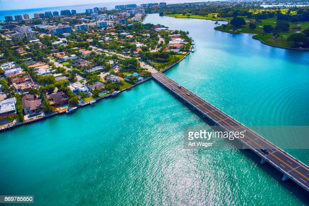 bridge over the biscayne bay - miami dade county stock photos and pictures